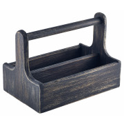 Table Caddy / Bar Organizer, Holz, schwarz - 25x15,7x18