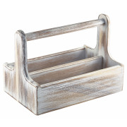 Table Caddy / Bar Organizer, Holz, weiß - 25x15,7x18cm