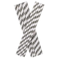 Trinkhalme, Papier (8x255mm) - grau-weiß gestreift